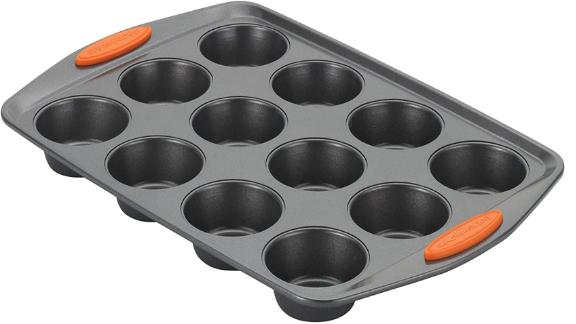 Rachael Ray Yum-o Nonstick Bakeware 12-Cup Muffin Tin With Grips