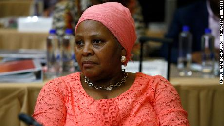 Nosiviwe Mapisa-Nqakula looks on during a cabinet meeting January 29, 2020, in Pretoria, South Africa.