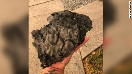 Morgan Balaei, who lives in Santa Rosa, found this huge piece of ash outside her home on September 27th.