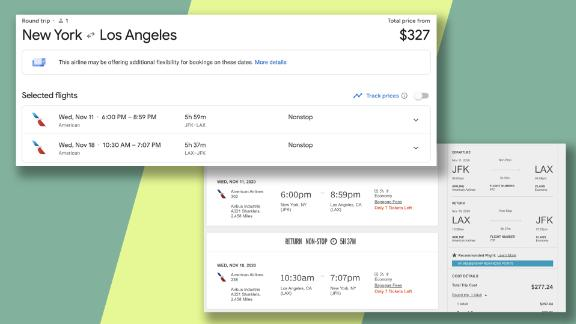 Amex Platinum card members can get a significant discount on domestic flights like this one between New York and Los Angeles.