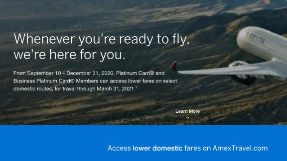 Amex Platinum card members have access to major discounts on domestic airfares.