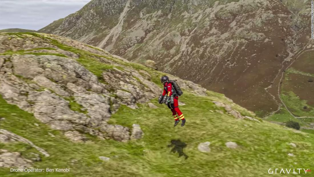 Paramedics test jet suit that can fly up mountains