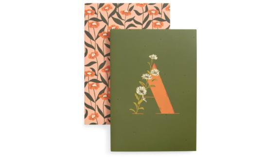 Set of 2 Monogram Floral Slim Mini Journals