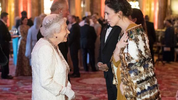 Queen Elizabeth II greets Jacinda Ardern at Buckingham Palace on April 19, 2018 in London, England. Ardern wears a kahu huruhuru, a traditional Māori garment worn on special occasions.
