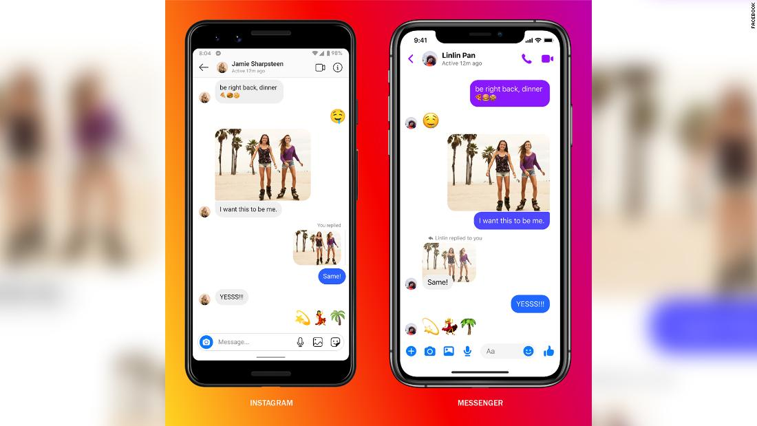 Facebook takes a big step in linking Instagram Messenger and WhatsApp – CNN