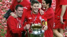 Jamie Carragher celebrates Liverpool's Champions League triumph in 2005 with Steven Gerrard.