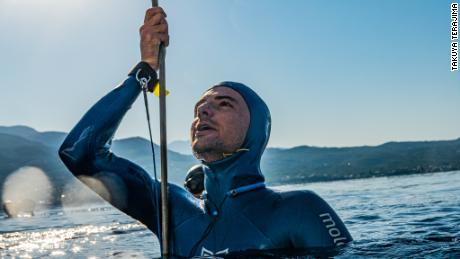 Arnaud Jerald holds the world record depth reached by a free diver, plunging to a depth of  367.5 feet.