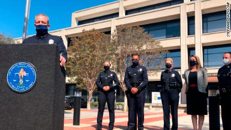 Los Angeles Police Chief Michel Moore discusses an attack on a police officer Monday.