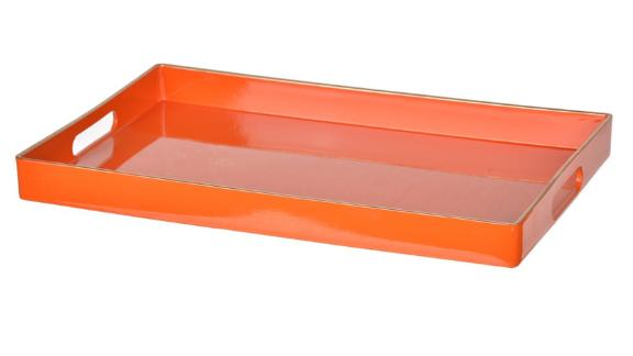 A and B Home Orange Decorative Tray