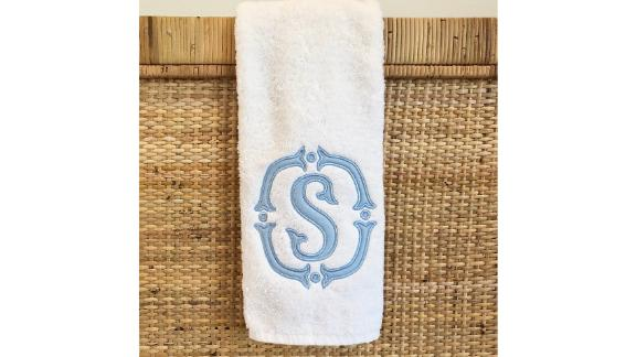 Blue Bamboo Embroidery Custom Monogrammed Hand Towels