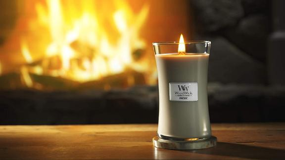 Woodwick Large Hourglass Scented Candle, Fireside