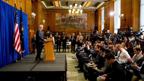 Pence holds a news conference in Indianapolis in March 2015. Pence spoke about the state's Religious Freedom Restoration Act, which banned local governments from intervening when businesses turn away customers for religious reasons. The law sparked concern about discrimination, particularly within the LGBT community. A week after it was enacted, Pence signed a new version that prohibited discrimination on the basis of sexual orientation.