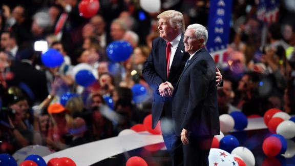 Trump and Pence acknowledge the crowd at the end of the Republican National Convention in 2016.