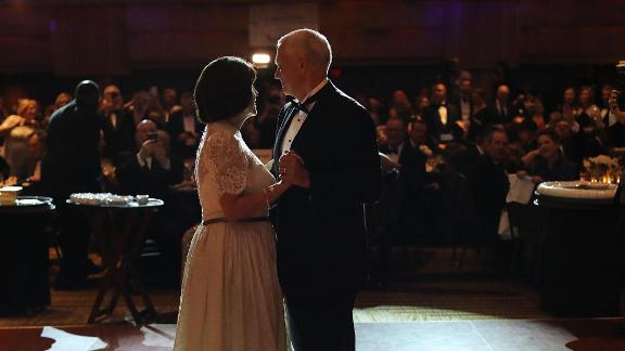 Pence and his wife, Karen, take the first dance at the Indiana Society's Inaugural Ball in January 2017.