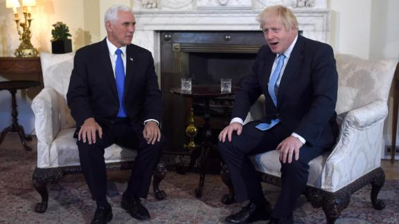 Pence meets with British Prime Minister Boris Johnson in London in September 2019.