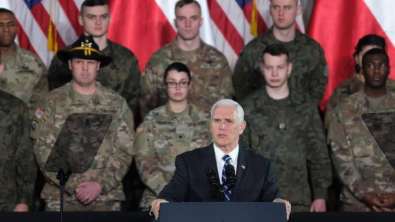 Pence speaks while visiting US and Polish soldiers at a military base in Warsaw, Poland, in February 2019.