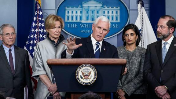 Pence speaks during a White House coronavirus briefing in March 2020. He was chosen by President Trump to lead the White House Coronavirus Task Force.