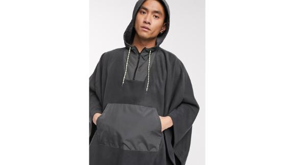 Asos Design Fleece Poncho With Nylon Designs