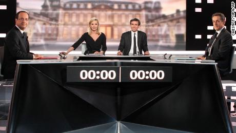 President Nicolas Sarkozy, right, faces his Socialist Party opponent Francois Hollande, left, during a televised debate in 2012.