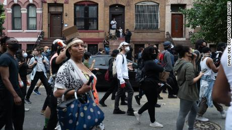 Demonstrators march in the South Bronx to protest the death of George Floyd on June 4, 2020.