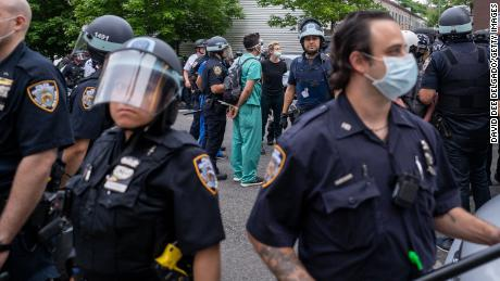 NYPD officers make arrests at the June 4 protest in the Bronx.