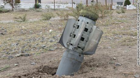 A  rocket shell is pictured in the Ivanyan community in the Nagorno-Karabakh region on October 1, 2020.