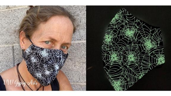 VWGypsyArts Glow-in-the-Dark Spiderweb Face Mask