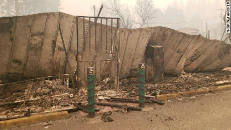 The remains of Canyon Cannabis, a Gates, Oregon, dispensary that was destroyed Sept. 8 by the Beachie Creek Fire.