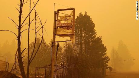 The burnt remains of Canyon Cannabis' sign. The Gates, Oregon, dispensary was destroyed Sept. 8 by the Beachie Creek Fire.