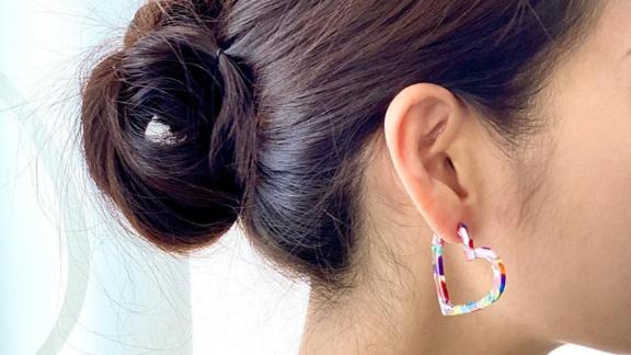 ByLunari Multicolor Heart Tortoise Hoop Earrings