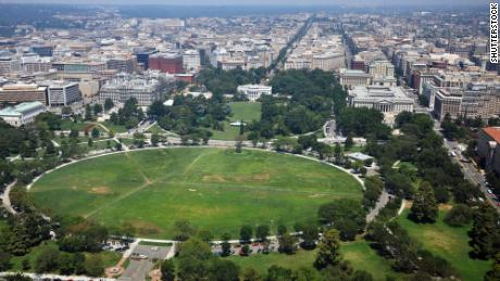 An aerial view of the White House and the Ellipse in Washington, DC.