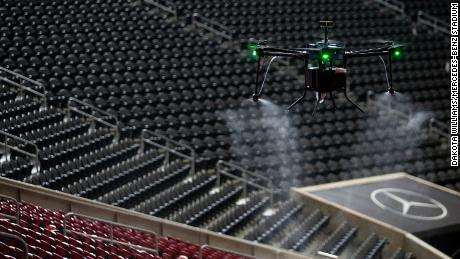 Mercedes-Benz Stadium is using drone technology for sanitation protocol.