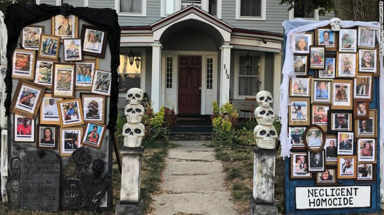 A Connecticut man's Halloween display features real-life horrors: The coronavirus and Black lives lost