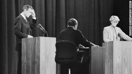 Sander Vanocur acts as moderator for the vice presidential debate between Geraldine Ferraro and George Bush on October 11, 1984, in Philadelphia.