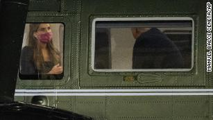 Hope Hicks, left, is seated across President Donald Trump inside Marine One as it lands on the South Lawn at the White House, Monday, Sept. 14, 2020, in Washington. (AP Photo/Manuel Balce Ceneta)