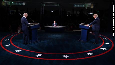 CLEVELAND, OHIO - SEPTEMBER 29: U.S. President Donald Trump and Democratic presidential nominee Joe Biden participate in the first presidential debate at the Health Education Campus of Case Western Reserve University on September 29, 2020 in Cleveland, Ohio. This is the first of three planned debates between the two candidates in the lead up to the election on November 3. (Photo by Olivier Douliery-Pool/Getty Images)