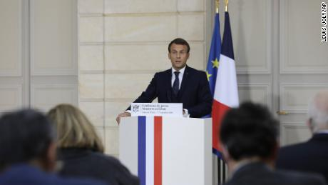 French President Emmanuel Macron speaks during a press conference about Lebanon on September 27 in Paris.