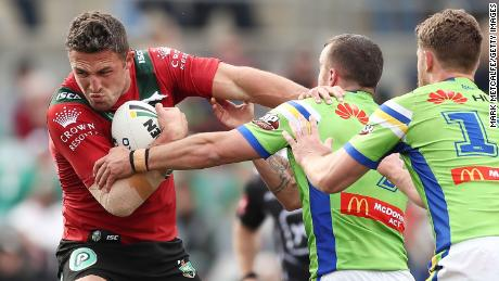 Burgess attempts to break a tackle against the Canberra Raiders in August 2018.