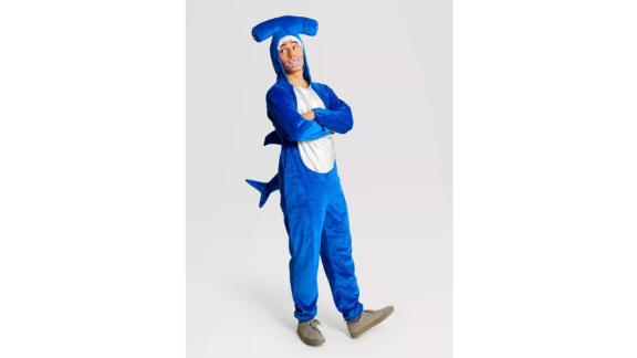Adult Plush Hammerhead Shark Halloween Costume Jumpsuit
