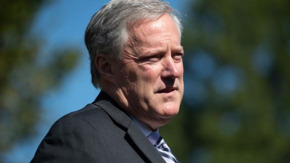 """White House Chief of Staff Mark Meadows speaks to the media about US President Donald Trump at the White House in Washington, DC, October 2, 2020. - Meadows addressed the positive Covid-19 tests of US President Donald Trump and First Lady Melania Trump. """"They remain in good spirits. The president does have mild symptoms and as we look to try to make sure that not only his health and safety and welfare is good, we continue to look at that for all of the american people,"""" Meadows said. (Photo by SAUL LOEB / AFP) (Photo by SAUL LOEB/AFP via Getty Images)"""