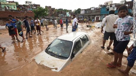 Heavy monsoon rainfall in Jaipur in August left this car caked in mud.