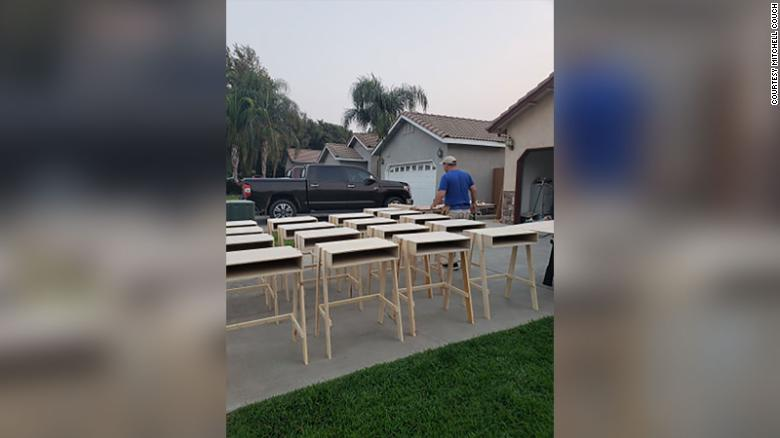 This California dad built dozens of desks to help students with virtual learning