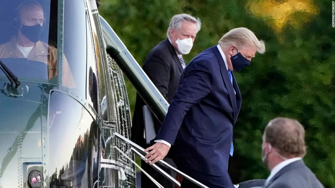 "US President Donald Trump arrives at the Walter Reed National Military Medical Center in Bethesda, Maryland, on October 2. Trump announced on Twitter earlier that day that <a href=""https://www.cnn.com/2020/10/02/politics/president-donald-trump-walter-reed-coronavirus/index.html"" target=""_blank"">he and first lady Melania Trump had tested positive for Covid-19.</a> He spent the weekend at Walter Reed and received various treatments."