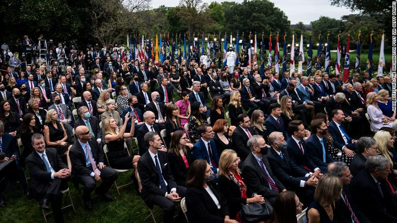 Staff and visitors listen as President Donald J. Trump speaks with Judge Amy Coney Barrett during a ceremony to announce Barrett as his nominee to the Supreme Court in the Rose Garden at the White House on Saturday, Sept 26, 2020 in Washington, DC. (Photo by Jabin Botsford/The Washington Post via Getty Images)