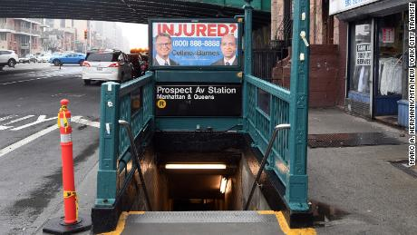 An advert for the Cellino & Barnes law firm on the Prospect Avenue subway station in New York on April 4, 2017.