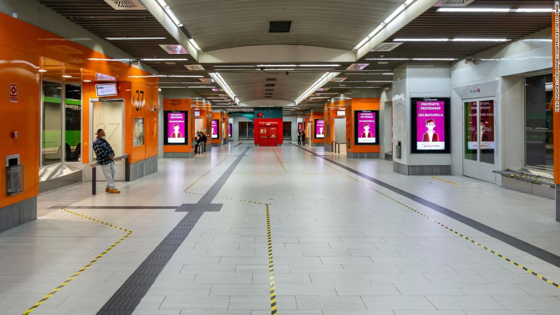 "The Moncloa bus station in Madrid is deserted after <a href=""https://www.cnn.com/2020/10/01/europe/madrid-lockdown-coronavirus-europe-intl/index.html"" target=""_blank"">new lockdown measures</a> were imposed in the city. New measures are being introduced in many countries across Europe as a second wave grips the continent."