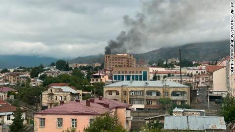 Smoke rises after the recent shelling, in Stepanakert, Nagorno-Karabakh.