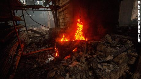 A view shows a building material store recent shelling in Stepanakert, Nagorno-Karabakh.