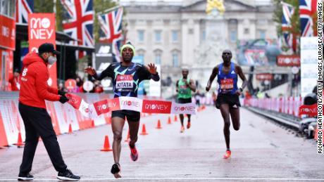Kitata won a tight finish at the 2020 London Marathon.