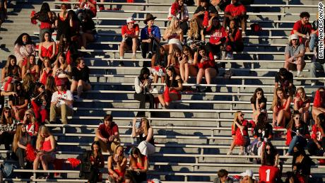 Georgia students gather in the stands before the Southeastern Conference football game between Georgia and Auburn in Athens on Saturday.